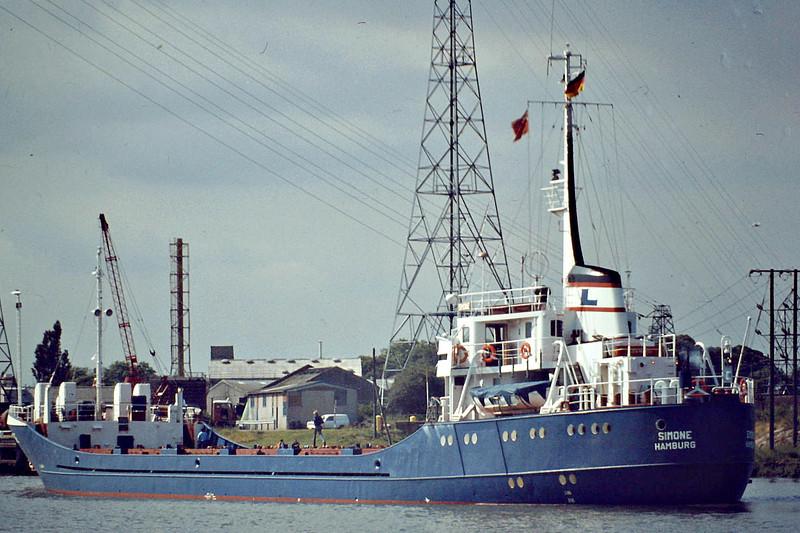 SIMONE (Hamburg) - IMO6918821 - Cargo - DEU/2000/69 JJ Sietas Schiffswerft, Hamburg, No.607 - 73.9 x 10.8 - Partrederei Simone - still trading as LANDIA (VCT) - Boston, inward bound to unload, 07/81.