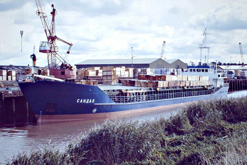 SANDAL (St Petersburg) - IMO9083201 - Cargo - RUS/2300/93 Onega Arminius Shipyard, Petrozavodsk, No.10523/001 - 81.2 x 11.4 - White Sea Onega Shipping Co. - still trading - Wisbech, unloading timber for Swiftwood, 02/10/08.