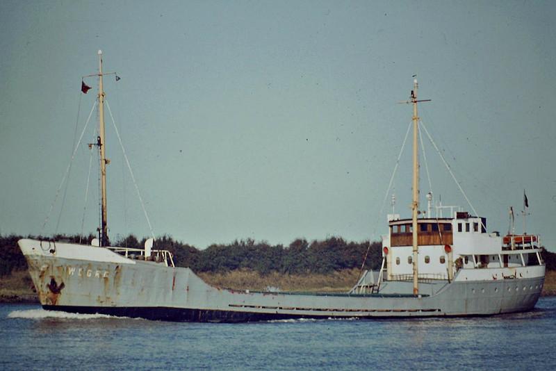 WEGRO (Dublin) - IMO5387269 - Cargo - IRL/659/55 Scheeps Foxhol, No.96 - 51.6 x 8.6 - Allsworth Shipping - Kings Lynn, inward bound, 09/83 - 07/85 broken up at Queenborough.