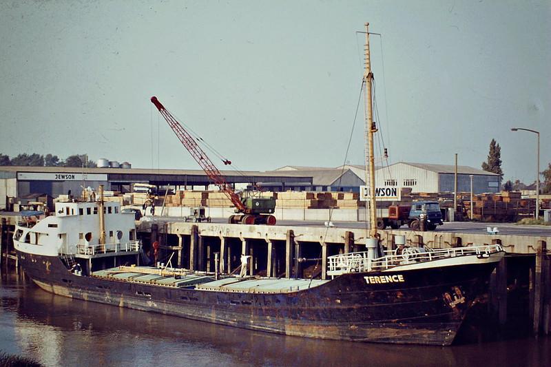 TERENCE (Guernsey) - IMO5190032 - Cargo - GBR/685/55 JJ Sietas Schiffs, Hamburg, No.388 - 53.2 x 8.4 - Pelham Dale & Partners - Wisbech, unloading fertiliser, 09/83 - 2002 broken up.