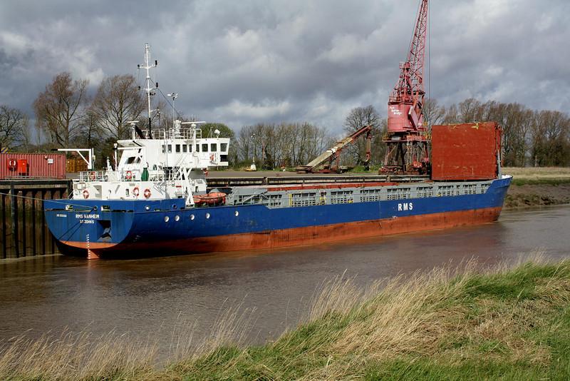 RMS WANHEIM (St Johns) - IMO8920268 - Cargo - ATG/2620/90 Scheeps Damen, Bergum, No.8257 - 82.5 x 12.5 - Rhein Maas & See Schiffs - Port Sutton Bridge, loading grain, 26/03/09.