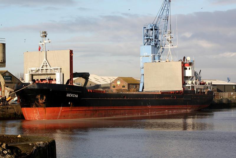 SHEKSNA (St Petersburg) - IMO8876572 - Cargo - RUS/2769/94 Stocznia Gdanska, No.TS82/01 - 82.4 x 12.5 - Volga-Neva Ltd - Kings Lynn, unloading timber for Finnforest in Bentinck Dock, 11/12/08.