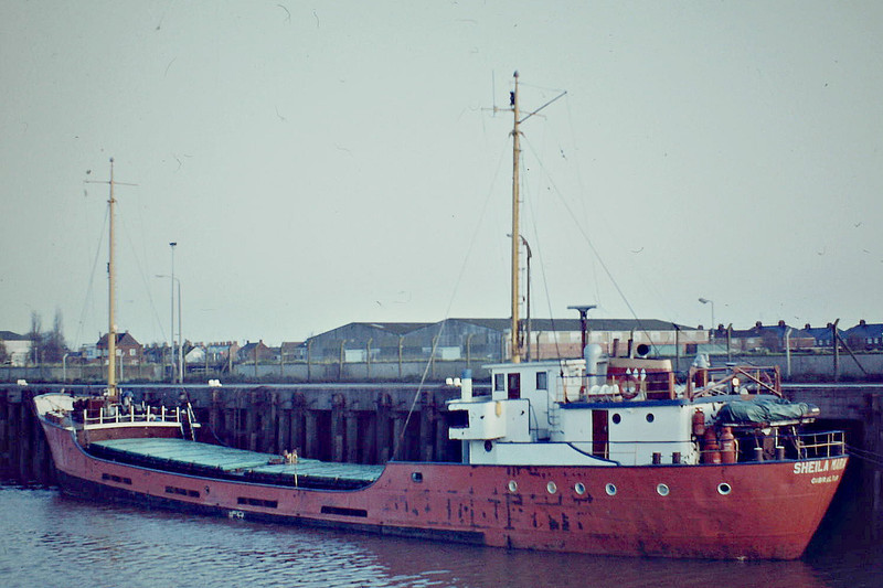 SHEILA MARIA (Gibraltar) - IMO5336258 - Cargo - GIB/514/57 Scheeps Amels, Makkum, No.209 - 48.5 x 8.0 - Invicta Shipping Ltd. - 1999 broken up - Wisbech, 12/82.