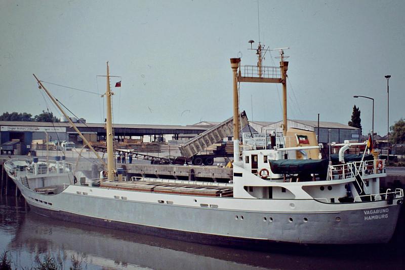 VAGABUND (Hamburg) - IMO5063588 - Cargo - DEU/889/60 JJ Sietas Schiffswerft, Hamburg, No.475 - 56.2 x 9.5 - Irmgard Meyer - still trading as SEA STAR II (PAN) - Wisbech, loading grain, 06/82.