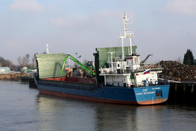 SEG (St Petersburg) - IMO9066045 - Cargo - RUS/2300/93 Schiffs Arminius, Bodenwerder, No.10524 - 81.4 x 11.5 - White Sea Fleet - Wisbech, moved to Crabmarsh to load scrap, 29/01/09.