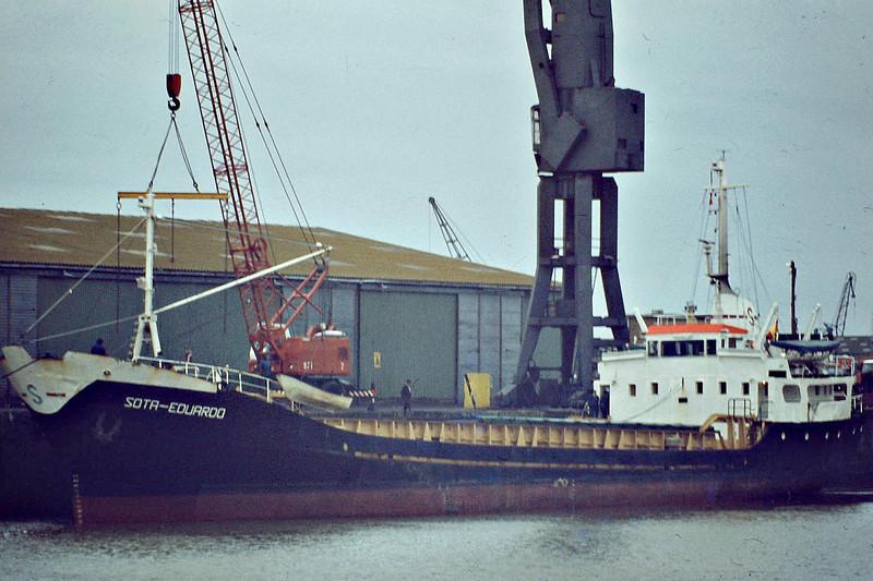 SOTA EDUARDO (Bilbao) - IMO7385514 - Cargo - ESP/1150/74 Astilleros Celaya, Bilbao, No.148 - 60.3 x 10.4 - 15/07/85 capsized off Flamborough Head, 19/07/85 sank in tow - Boston, unloading steel, 12/80.