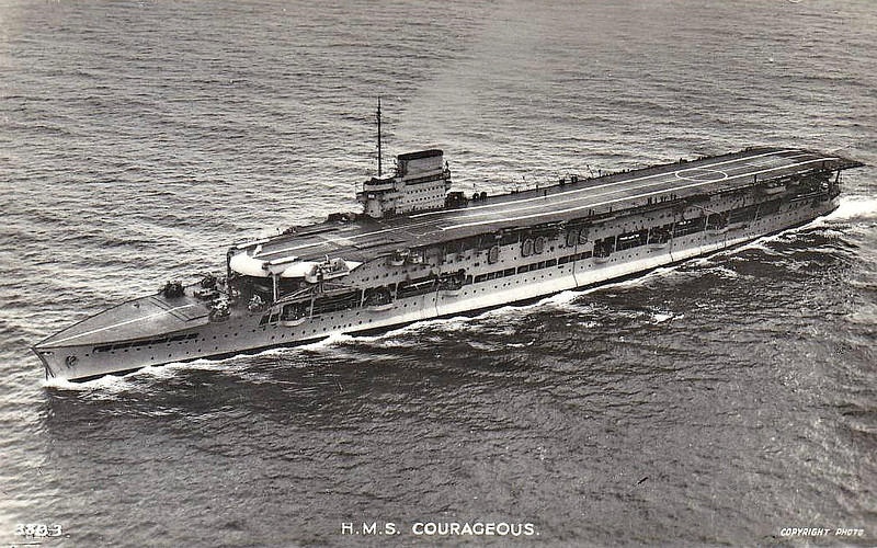 1916 to 1939 - COURAGEOUS (50) - Courageous Class Light Battlecruiser - 22920 tons - 239.8 x 24.7 - 1916 Armstrong Whitworth & Co., Elswick - 4x15in., 18x4in., 2x3in., 2TT - 32 knots - 1st Cruiser Sqdn., Grand Fleet, 31/10/17 Second Battle of Heligoland Bight, 02/19 to Reserve, 1024-28 converted to Aircraft Carrier, 16x4.7in., 48 a/c, 1928 Mediterranean, 1930 Home Fleet, 12/38 Training Carrier, 09/39 Home Fleet, 17/09/39 torpedoed and sunk by U29 in Western Approaches.