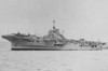 1941 to 1954 - INDOMITABLE (R92) - Indomitable Class Fleet Aircraft Carrier - 29730 tons - 229.8 x 35.4 - 1941 Vickers Armstrong & Co., Barrow - 8 x 2 - 4.5in, 6 x 8 - 40mm, 8 x 1 - 20mm, 45  aircraft  (Fulmar, Sea Hurricane, Buffalo, Martlet fighters, Swordfish, Albacore torpedo bombers, Walrus recon planes) - 30.5 knots - 02/1943 8 x 2 - 20mm, 2 x 1 - 20mm added, 05/1943 40 Seafire, 15 Albacore, 05/1944 2 x 4 - 40mm, 2 x 2 - 40mm, 12 x 2 - 20mm, 6 x 1 - 20mm added, 08/1944 24 Hellcat, 24 Barracuda, 1945 8 x 2 - 20mm, 4 x 1 - 20mm removed, 13 x 1 - 40mm added, 05/1945 33 Hellcat, 15 Avenger, 01/1946 armed with 8 x 2 - 4.5in., 2 x 4 - 40mm, 2 x 2 - 40mm, 13 x 1 - 40mm, 6 x 8 - 40mm, 12 x 2 - 20mm, 12 x 1 - 20mm, 45  aircraft, 12/1951 12 Sea Fury, 12 Firebrand - 03/11/41 ran aground whilst working up in West Indies, repaired Norfolk Navy Yard, 12/41 passage to join Eastern Fleet, arrived 31/03/42, 05/42 Operation Ironclad, occupation of Madagascar, 07/42 Force H, Gibraltar, 12/08/42 Force Z, cover for Convoy WS21S to Malta, hit by 3 AP bombs, serious damage and fires, 09/42 to US for repair, 02/43 passage to UK, 04/43 Home Fleet, 06/43 Force H, Gibraltar, 07/43 Operation Husky, landings in Sicily, 16/07/43 torpedoed by a/c, 08/43 to US for repair, 05/44 repair and refit completed, Trincomalee via UK, 11/44 British Pacific Fleet, 01/04/45 damaged by kamikaze off Sakashima Gunto, extensive damage to island and fires, 14 dead, 16 wounded, operational 1 hour later, 04/05/45 hit by kamikaze off Sakashima Gunto, remained operational, 09/05/45 hit by kamikaze, remained operational, 20/05/45 in collision with destroyer QUILLIAM which was badly damaged, 06/45 refit in Sydney, 08/45 Philippines, then relief of Hong Kong, 12/45 to UK, to Reserve on arrival, 1948 to 1950 refit, Flagship Home Fleet, 03/02/53 badly damaged by explosion and fire, sealed with concrete, never repaired, 1954 to Reserve, 09/55 broken up at Faslane - seen here with Seafire's deployed on her foredeck.