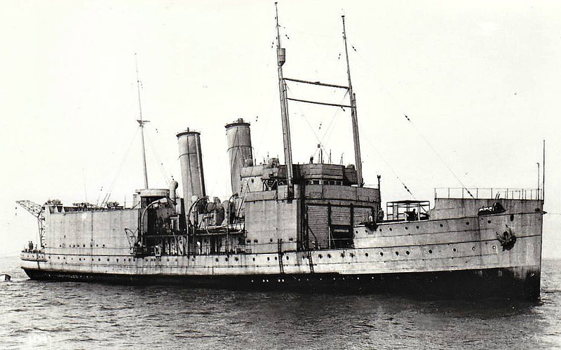 1917 to 1925 - PEGASUS - Aircraft/Seaplane Carrier - 3368 tons - 101.3 x 13.1 - 1917 John Brown & Co., Clydebank - 3x3in., 9 a/c - 20 knots - 1914 laid down as STOCKHOLM for Great Eastern Railway, construction suspended by outbreak of war, 02/17 acquired by Navy and converted to Aircraft/Seaplane Carrier, 08/17 Grand Fleet, 05/19 Archangel, Russian Civil War, 03/20 Mediterranean Fleet, Black Sea, 1923 forward flying-off deck removed, reclassified as Aircraft Tender, 1924 Singapore, 07/25 decommisioned, 08/31 sold for breaking - seen here after 1923.