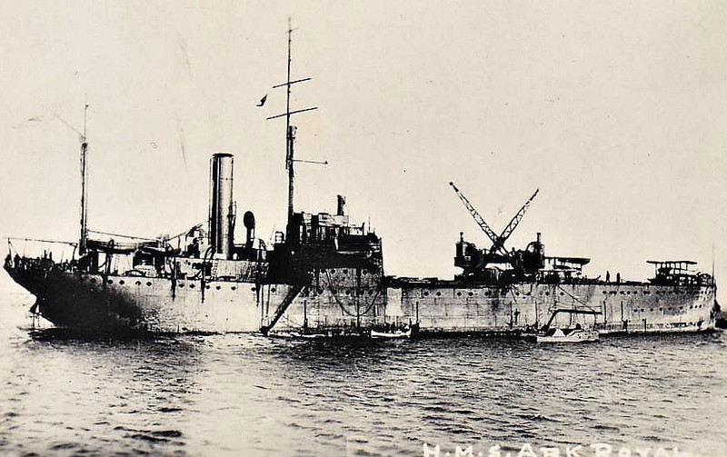 1914 to 1944 - ARK ROYAL - Seaplane Carrier - 7570 tons - 111.6 x 15.5 - 1914 Blyth Shipbuilding & Drydock Co., Blyth - 4x3in., 8 a/c - 11 knots - 1915 Gallipoli, 1916 Salonika, 1918 Aegean Sea, 1919 Black Sea, 1920 Somaliland, 1922 Dardanelles, 1930 Training Ship, 12/34 renamed PEGASUS, 09/39 Aircraft Transport, 1944 Barracks Ship, 1946 sold Commercial as ANITA I (PAN), 10/50 broken up.