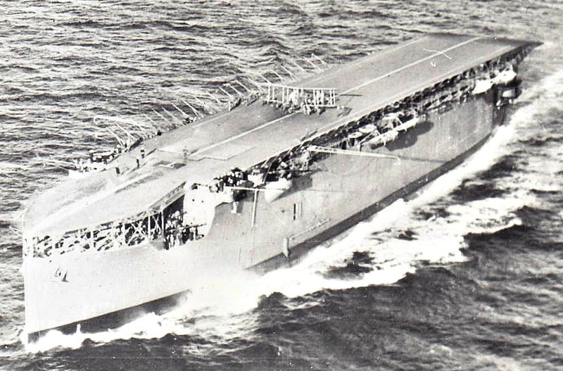 1918 to 1945 - ARGUS (I49) - Aircraft Carrier - 14450 tons - 172.2 x 20.7 - 1918 Wm Beardmore & Co., Dalmuir - 6x4in., about 18 a/c - 20 knots - 1916 taken over by the Admiralty on the stocks while building as Italian liner CONTE ROSSO, 1918 completed as first carrier with full-length flight deck, 1922 Dardanelles, 09/28 China Station, 09/32 to Reserve, 07/38 training carrier, 07/40 Aircraft Delivery Duties, 10/42 Operation Torch, 01/43 training duties, 01/45 accomodation ship, 12/45 sold for breaking - seen here just post WW1 I think.