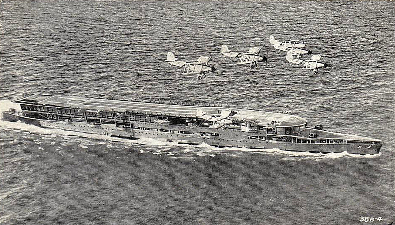 1917 to 1948 - FURIOUS (47) - Courageous Class Light Battlecruiser - 22920 tons - 239.8 x 24.7 - 1917 Armstrong Whitworth & Co., Elswick - 4x15in., 18x4in., 2x3in., 2TT - 32 knots - whilst building, forward turret was removed and replaced by 10 plane hangar with a 49 metres flying off deck built above it - 11/17 rear turret removed and replaced by 91 metres landing-on deck with a another hangar beneath - 02/08/17 first ever successful landing on a moving ship - 06/21 to 09/25 converted to full carrier, superstructure and funnel removed - 1939 small island added on starboard side of flight deck - 10/39 Home Fleet, 04/40 Norway, 11/40 Aircraft Delivery Duties, 07/41 Home Fleet, 08/41 Aircraft Delivery Duties, 11/41 refit in USA, 06/42 Home Fleet, 08/42 Operation Pedestal, then Operation Torch, 04/43 Home Fleet, 08/45 to Reserve, 01/48 sold for breaking - seen here in the 1930's. Posted December 6th, 1941.