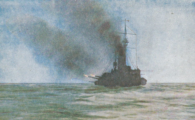 6 - TWILIGHT ON THE NORTH SEA. THE BIG GUNS ARE BUSY. HMS AFRICA fires broadsides to port in the gathering gloom.