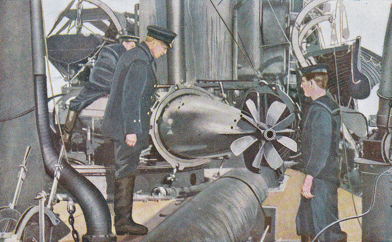 18 - INSERTING A TORPEDO IN THE FIRING TUBE - this would appear to be taking place on the deck of a destroyer - posted June  9th, 1916.