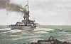 3 - A BRITISH BATTLESHIP READY FOR ACTION - Ensigns flying and all guns trained to starboard. This was probably as close as HMS AFRICA actually ever got to a surface action - posted July 6th, 1916.