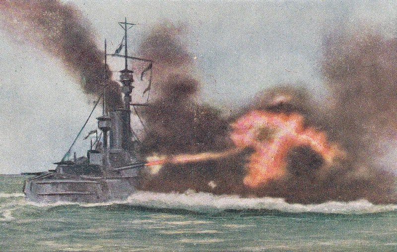 4 - FIRING FOUR 12 INCH GUN SALVOES - HMS AFRICA goes to it with a will! This picture gives some idea of just how difficult it was to see exactly what was going on during a battle - posted June 17th, 1916.