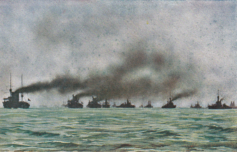 1 - THE GRAND FLEET UNDER WAY - Most of the ships in this picture seem to pre-Dreadnoughts although the ship on the extreme right is certainly a Dreadnought - posted June 15th, 1916.