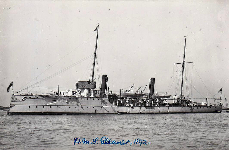 1890 to 1905 - GLEANER - Sharpshooter Class Torpedo Gunboat - 735 tons - 74.0 x 8.2 - 1889 HM Dockyard, Sheerness - 2x4.7in., 5TT - 19 knots - 04/05 sold for breaking - seen here in 1892.