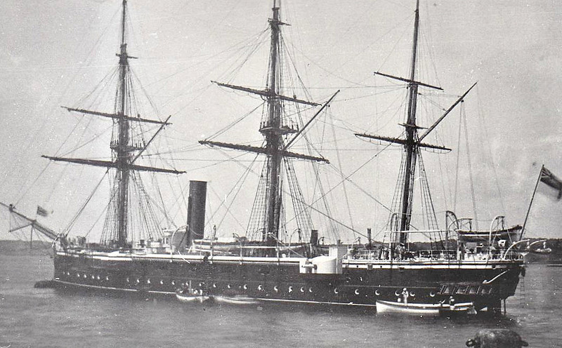 1878 to 1904 - CURACOA - Comus Class Steam Screw Corvette - 2380 tons - 68.6 x 13.6 - 1878 John Elder & Co., Govan - 2x7in., 12x64pdr - 1878 Cape of Good Hope and West Africa Station, 1890 Australia Station, 1904 sold for breaking.