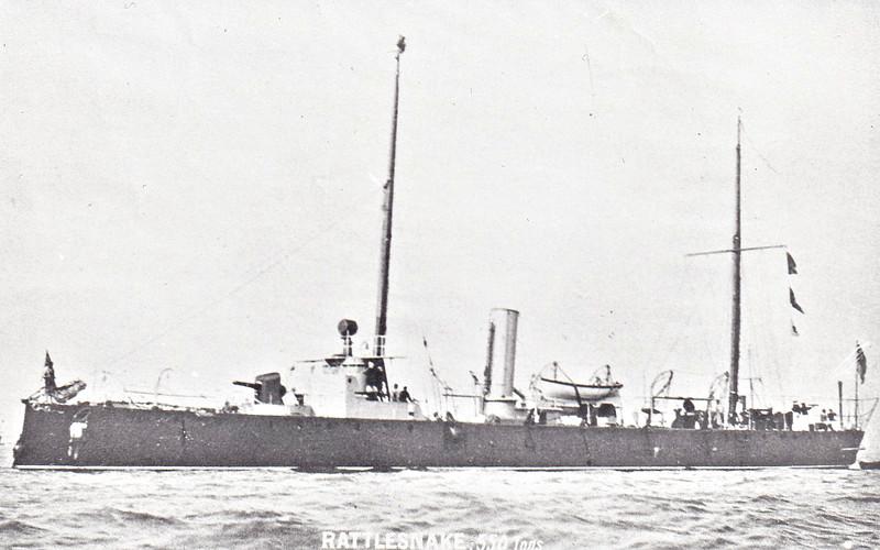 1887 to 1910 - RATTLESNAKE - Torpedo Gunboat - 559 tons - 61.0 x 7.0 - 1886 Laird Bros., Birkenhead - 1x4in., 4TT - 19 knots - 1906 Submarine Target Ship, 1910 sold for breaking.