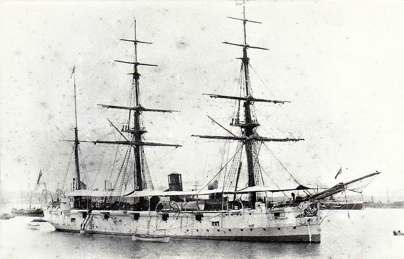1882 to 1897 - CAROLINE - Satellite Class Corvette - 1420 tons - 61.0 x 12.0 - 1882 Sheerness Dockyard - 2x6in., 10x5in. - 1897 hulked, 04/08 Training Ship, renamed GANGES, 09/13 renamed POWERFUL III, 11/19 renamed IMPREGNABLE IV, 08/29 sold for breaking.