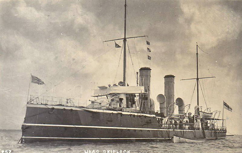 1890 to 1920 - SKIPJACK - Sharpshooter Class Torpedo Gunboat - 735 tons - 74.0 x 8.2 - 1889 HM Dockyard, Chatham - 2x4.7in., 5TT - 19 knots - 1909 converted to Minesweeper, 04/20 sold for breaking.