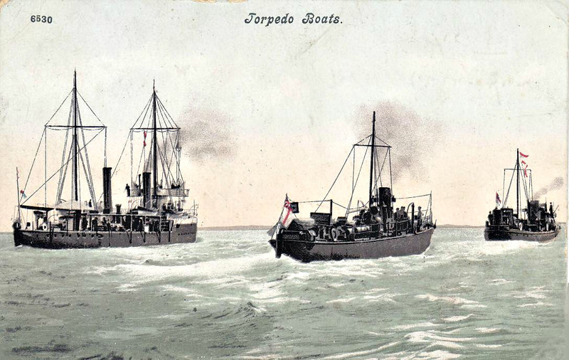 1890 - SHARPSHOOTER Class Torpedo Gunboat and flotilla of Torpedo Boats - the SHARPSHOOTER Class were designed as flotilla leaders for the small torpedo gunboats of the late 19th Century - 735 tons - 74.0 x 8.2 - 2x4.7in., 5TT - 19 knots - as the size of destroyers increased, the flotilla leaders became redundant and, by 1914, most had been converted to minesweepers.