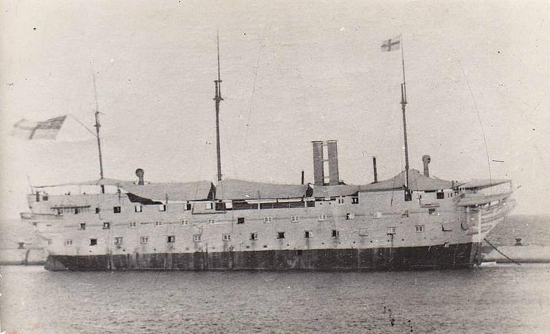 1864 to 1894 - IRRESISTIBLE - Wooden 2nd rate two decker - built at Chatham Dockyard - 2589 tons - 80 guns - 60.5 metres long - 1868 Depot Ship, Bermuda - 1894 scrapped.