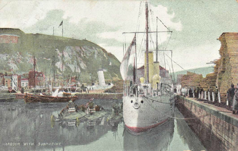 1901 to 1918 - HAZARD - Submarine Depot Ship - 1070 tons - 80.3 x 9.3 - 1894 HM Dockyard, Pembroke Dock as Torpedo Gunboat - 2x4.7in. - 1901 converted to Submarine Depot Ship, 28/01/18 sunk in collision with SS WESTERN AUSTRALIA in English Channel - seen here at Dover with 3 early submarines - posted August 29th, 1907.
