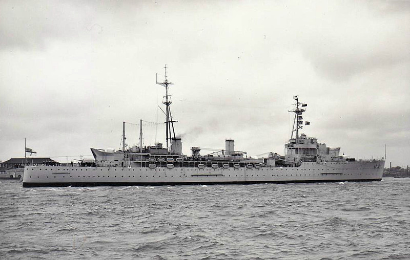 1941 to 1964 - TYNE (F24) - Hecla Class Destroyer Depot Ship - 10850 tons - 178.4 x 20.1 - 1941 Scotts Shipbuilding, Greenock - 8x4.5in - 03/41 Flagship, Rear Admiral (Destroyers), Scapa Flow, 12/44 British Pacific Fleet, 08/46 to Reserve at Harwich, 10/50 Flagship Destroyer Flotillas, Mediterranean Fleet, Malta, 02/53 Korean War, 05/54 Flagship, Home Fleet, 08/56 Flaship, Second in command, Mediterranean Fleet, 04/58 Depot Ship, 2nd Submarine Sqdn., 03/61 Accomodation Ship, 07/64 decommisioned, 08/72 sold for breaking.