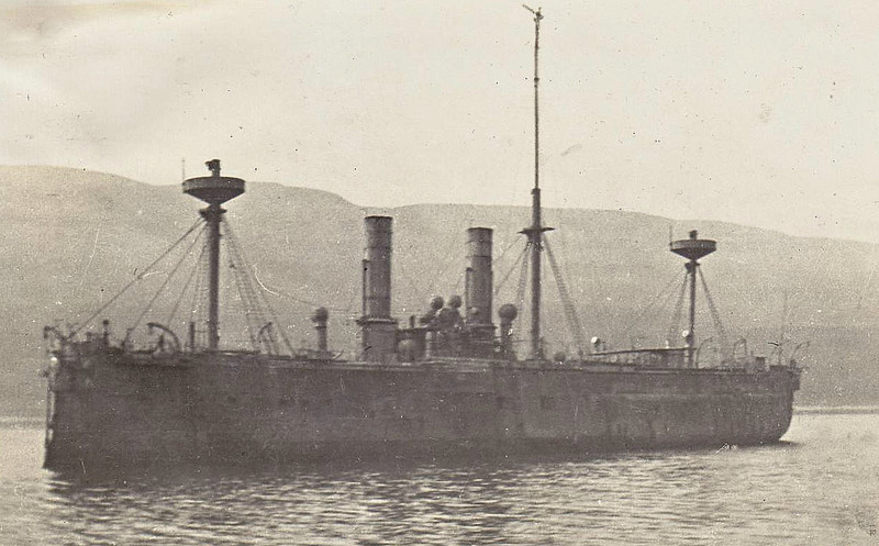 1877 to 1908 - ALEXANDRA - Central Battery Ironclad - 9490 tons - 105.0 x 19.4 - 1877 Chatham Dockyard - 2x11in., 10x10in. (1891: 4x9.2in, 6x4in.) - 15 knots - 1877 to 1889 flagship of Mediterranean Fleet, 1889 to Reserve, 1903 mechanical training ship, 10/08 sold for breaking - seen here at the Kyles of Bute in 1907.