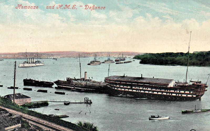 1862 to 1884 - DEFIANCE - Steam Two-Deck Ship-of-the-Line - 5700 tons - 75.1 x 16.9 - 1862 HM Dockyard, Pembroke Dock - 34x8in, 56x32pdr - 11.5 knots - 11/1884 Torpedo and Mining Schoolship, Devonport, 06/31 broken up at Plymouth - posted May 3rd, 1913.