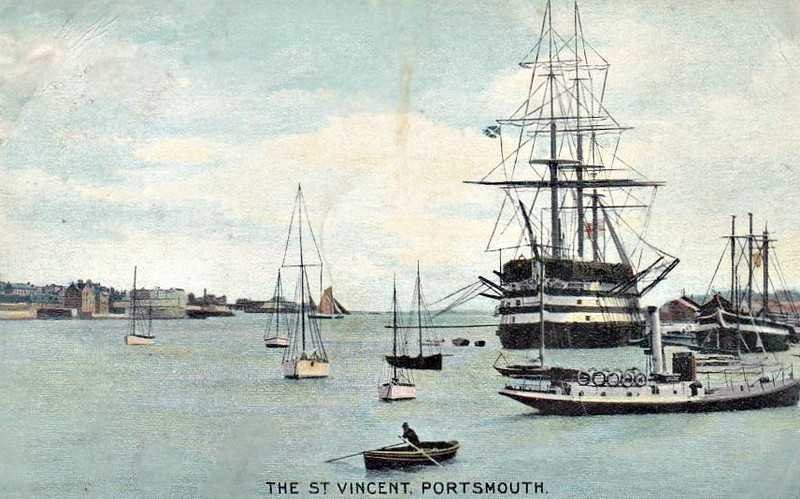 1815 to 1906 - ST VINCENT - Nelson Class Ship-of-the-Line - 4672 tons - 62.0 x 16.4 - 1815 HM Dockyard, Devonport - 120 guns - 1815 to lay-up from new, 1829 Channel Fleet, 1831 Mediterranean Fleet, 1841 Harbour Service, Portsmouth, 1847 Channel Fleet, 1854 Troop Transport, 1862 Training Ship, 1870 Boys Training Ship, Portsmouth, 1906 broken up - posted December 23rd, 1905.