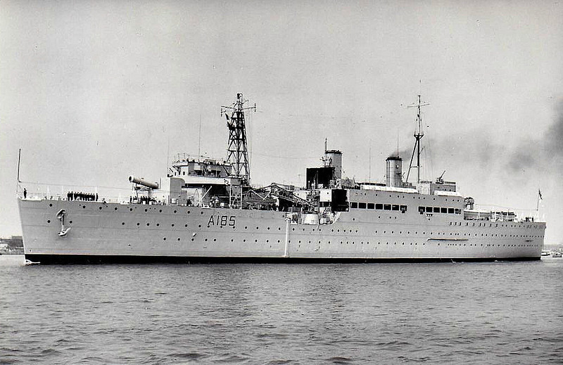 1938 to 1969 - MAIDSTONE (A185) - Maidstone Class Submarine Depot Ship - 8900 tons - 151.0 x 22.0 - 1938 John Brown & Co., Clydebank - 8x4.5in., 8x40mm - 17 knots - 07/38 Malta, Ist Submarine Flotilla, 12/39 Rosyth, 1942 Gibraltar, 1943 Oran, 01/44 Eastern Fleet, 8th Submarine Flotilla, 01/45 Fremantle, 04/45 Subic Bay, 1946 Portland, 1956 Home Fleet, 1959-61 modernised as depot ship for nuclear submarines, 1962 3rd Submarine Flotilla, Faslane, 1969 Acoomodation Ship, Belfast, 1977 decommisioned, 1978 sold for breaking - seen here in 05/62.