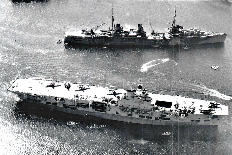 1943 to 1958 - UNICORN (I72) - Unicorn Class Maintenance Aircraft Carrier - 20300 tons - 195.1 x 27.5 - 1943 Harland & Wolff, Belfast - 8x4in., 16x40mm, 12x20mm - 24 knots - 08/43 Salerno landings, 09/43 Home Fleet, 01/44 Eastern Fleet, 02/45 began ferry and repair duties with Pacific Fleet, 12/45 to UK, 01/46 to Reserve, 1949 recommissioned, to Far East, 1954 to Reserve, 1958 decommissioned, 06/60 sold for breaking - note Fairey Barracuda aircraft on deck.