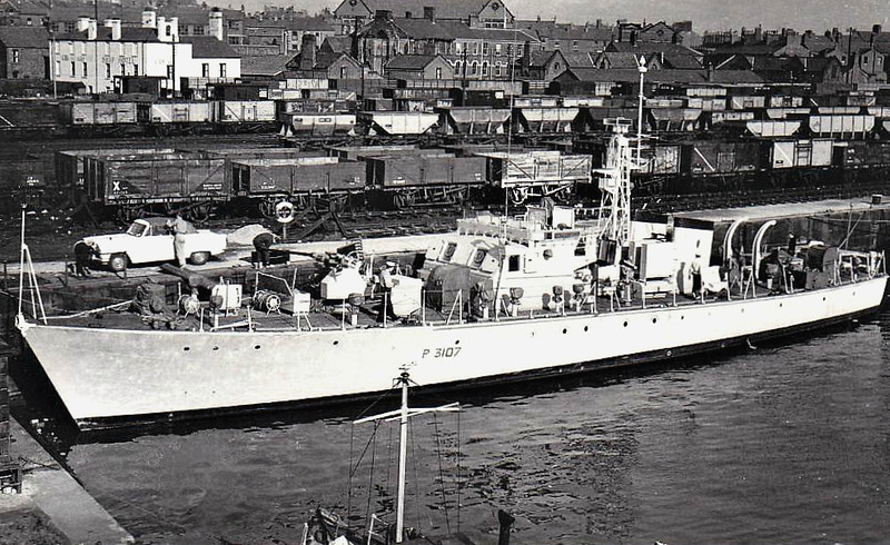 1953 to 1962 - CAMBERFORD (P3121) - Ford Class Seaward Defence Boat - 120 tons - 35.7 x 6.1 - 1953 Vosper Thoirnycroft, Portsmouth - 18 knots - 1962 decommissioned - seen here at Barrow in 03/62.
