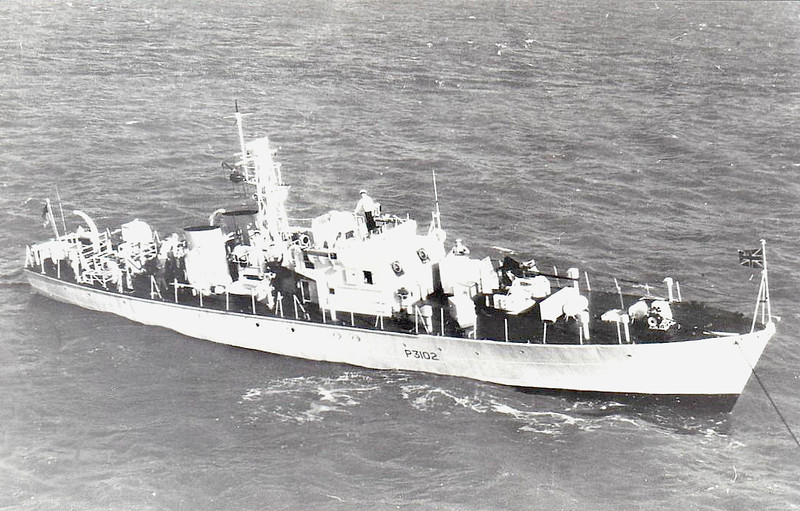 1952 to 1966 - ABERFORD (P3102) - Ford Class Seaward Defence Boat - 120 tons - 35.7 x 6.1 - 1952 Yarrow Shipbuilders, Scotstoun - 18 knots - 1966 to Nigeria as NYATI - fate not known.