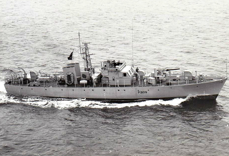1953 to 1968 - GREATFORD (P3109) - Ford Class Seaward Defence Boat - 120 tons - 35.7 x 6.1 - 1953 J Samuel White & Co., Cowes - 18 knots - 1968 sold.