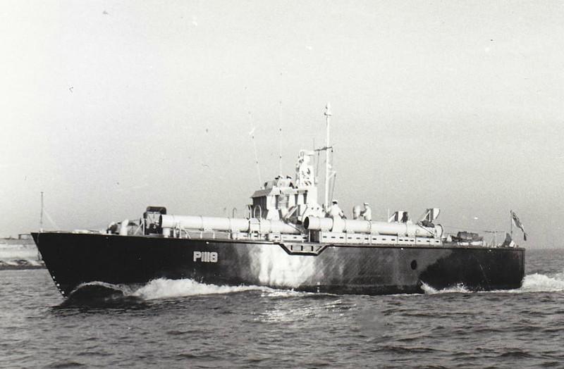 1955 to 1966 - DARK INTRUDER (P1118) - Dark Class Motor Torpedo Boat - 64 tons - 21.8 x 5.9 - 1955 Morgan & Giles, Teignmouth - 1x40mm, 4TT - 40 knots - seen here in 1958.