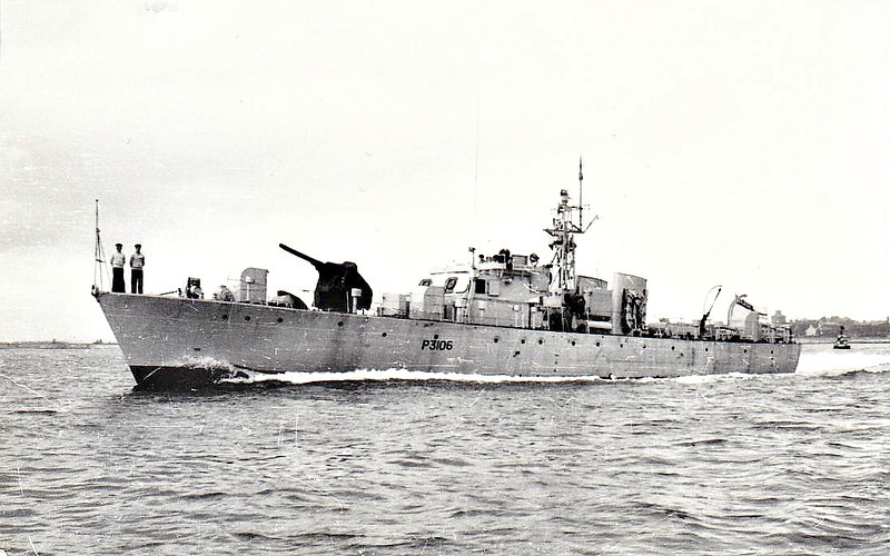 1953 to 1969 - BRYANSFORD (P3106) - Ford Class Seaward Defence Boat - 120 tons - 35.7 x 6.1 - 1953 AJ Inglis & Co., Pointhouse - 18 knots - 1969 sold to Nigeria as IBADAN II - fate unkown.