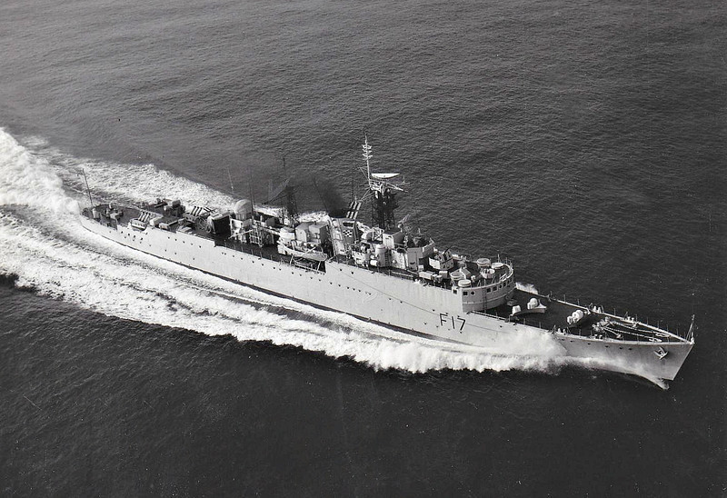 1943 to 1970 - ULYSSES (R42) - U Class Destroyer - 2058 tons - 111.0 x 10.9 - 1943 Cammell Laird & Co., Birkenhead - 4x4.7in., 2x40mm, 6x20mm, 8TT - 37 knots - 12/43 25th Destroyer Flotilla, Home Fleet, 06/44 Operation Neptune, 03/45 Pacific Fleet, 1946 to Reserve, 1952-53 converted to Type 15 Frigate (2x4in., 2x40mm, 2xLIMBO ASM), 1963 decommissioned, 1970 sold for breaking.