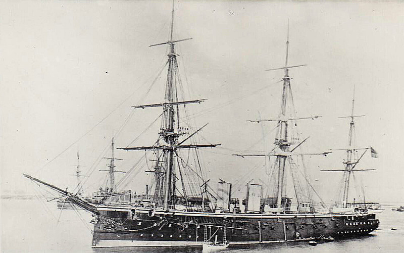 1876 to 1904 - SHAH - Steam Frigate - 6250 tons - 101.8 x 15.8 - 1876 HM Dockyard, Portsmouth - 2x9in., 16x7in, 8x5in, 1 torpedo launcher - 16 knots - 1976 Pacific, 29/05/1877 Battle of Pacocha against Peruvian rebels, fired first torpedo ever fired in action, 1879 South Africa, 1880 to Reserve, 1904 coal hulk C470, 1919 sold, 1926 wrecked in Bermuda.