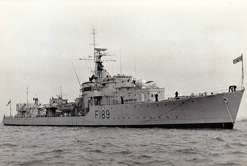 1943 to 1965 - TERMAGENT (R89) - T Class Destroyer - 2545 tons - 110.6 x 10.9 - 1943 W Denny & Bros., Dumbarton - 4x4.7in., 2x40mm, 8TT - 37 knots - 11/43 24th Destroyer Flotilla, Mediterranean, 21/05/44 involved in sinking of U543 off Cape Spartivento, 09/44 Aegean Flotilla, 10/44 sank German torpedo boats TA18, TA37, UJ2101 and patrol boat GK32, 03/45 British Pacific Fleet, 1952 converted to Type 16 Anti-Submarine Frigate, F189 (2x4.5in., 2x20mm, Sea Cst SAM, Limbo ASM, 1 h/c), as seen here, 1953 Training Ship, 3rd Submarine Flotilla, Rothesay, 1965 decommisioned, 11/65 sold for breaking.