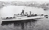 1943 to 1962 - ROEBUCK (H95) - R Class Destroyer - 1705 tons - 109.2 x 10.9 - 1943 Scotts Shipbuilders, Greenock - 4x4.7in., 1x4 40mm, 6x20mm, 8TT - 37 knots - 09/43 11th Destroyer Flotilla, Eastern Fleet, 1946 Devonport Local Flotilla, converted to Type 15 Frigate (F195), as seen here, 1953 5th Frigate Sqdn., Mediterranean Fleet, 1957 Dartmouth Training Sqdn., 1962 to Reserve, 08/68 sold for breaking - seen here in 02/58.