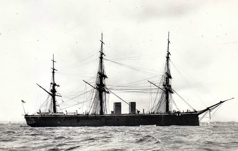 1869 to 1907 - INCONSTANT - Iron Screw Frigate - 5875 tons - 102.8 x 15.3 - 1869 HM Dockyard, Pembroke Dock - 10x9in., 6x7in. - 16 knots - 08/69 Channel Sqdn., 1871 Detached Sqdn., 1880-82 Detached Sqdn., 1898 Harbour Service, 1907 Training Ship, renamed IMPREGNABLE III, 1922 DEFIANCE IV, 1930 DEFIANCE II - 04/56 broken up in Belgium.