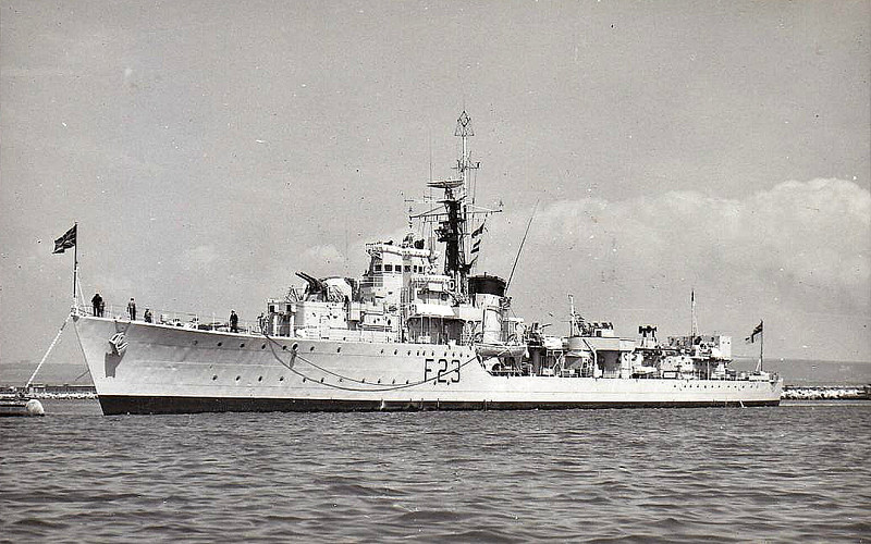 1943 to 1965 - TEAZER (F23) - T Class Destroyer - 2545 tons - 110.5 x 10.9 - 1943 Cammell Laird & Co., Birkenhead - 4x4.7in., 2x40mm, 8TT - 37 knots - 01/44 24th Destroyer Flotilla, Mediterranean, 07/44 Operation Drsgoon, Southern France, 04/45 British Pacific Fleet, 1946 to Reserve, 1956 partial conversion to Frigate, 2nd Training Sqdn., 08/65 sold for breaking - seen here in 05/60.