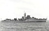 1944 to 1960 - TERPSICHORE (F19) - Type 16 Anti-Submarine Frigate, converted from T Class Destroyer - 2545 tons - 110.5 x 10.9 - 1943 Swan Hunter & Co., Wallsend - 4x4.7in., 2x40mm, 8TT - 37 knots - 1946 decommissioned, 1954 rebuilt as Type 16 Frigate and recommissioned (2x4in., 7x40mm, 2 Squid, 4TT), 1960 decommissioned, 05/66 sold for breaking - seen here in 1955.