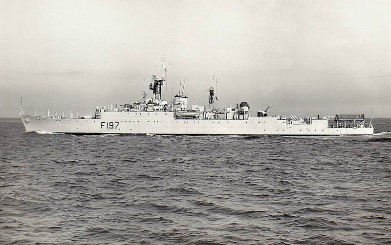 1943 to 1972 - GRENVILLE (R97) - U Class Destroyer - 2091 tons - 111.0 x 10.9 - 1943 Swan Hunter & Co., Wallsend - 4x4.7in., 4x40mm, 6x20mm, 8TT - 37 knots - 06/43 25th Destroyer Flotilla, Home Fleet, 07/43 Devonport, Anti-Submarine Patrols, 16/10/43 in action with German destroyers in Bay of Biscay, hit by return fire, then by friendly fire, 12/43 Adriatric, 06/44 Operation Neptune, Force K, 11/44 British Pacific Fleet, 1945 to Reserve, 1951 Plymouth Local Flotilla, 01/10/51 in collision off Stsart Point, 3 dead, 1952-54 convetred to Type 15 Anti-Submarine Frigate (F197), 1969 Weapons Trials Ship, 1972 decommisioned, 1983 sold for breaking - seen here in 07/59.