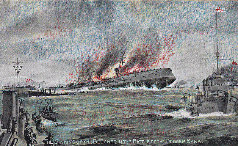SINKING OF THE BLUECHER IN THE BATTLE OF THE DOGGER BANK - 'On January 24th, a 'wireless' from his light cruisers and destroyers ahead warned Sir David Beatty of the proximity of enemy ships and told their force. At top speed, at 23.5 knots, the British battlecruisers LION, TIGER, PRINCESS ROYAL, INDOMITABLE and NEW ZEALAND steered to meet the enemy. They sighted them not far from the Dogger Bank, heading towards the British coast: three battlecruisers, DERFFLINGER, SEYDLITZ and MOLTKE and the armoured cruiser BLUECHER, biggest and most powerful ship of her type in existence, together with light cruisers and destroyers. The Germans, on seeing our ships, turned and ran for port. LION led, opening fire at 20,000 yards. TIGER, PRINCESS ROYAL and NEW ZEALAND also attacked the rearmost German, BLEUCHER, hard hit by the British 13.5 inch shells, began to show signs of distress. Leaving BLUECHER to her consorts, LION passed on to overtake the leaders, if possible, before they gained the refuge of their minefields. TIGER, PRINCESS ROYAL AND NEW ZEALAND between them rendered BLEUCHER 'hors de combat' and her crew assembled on her quarterdeck singing patriotic songs as she went down, fighting game to the last. The ARETHUSA and some destroyers stood by to save life.' Exactly how many men died on the BLEUCHER is a matter of debate: somewhere between 800 and 1000. She stood no chance against the British battlecruisers and was abandoned to her fate by Hipper to allow the rest of his squadron to escape.
