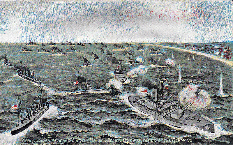 ALLIED WARSHIPS SHELLING THE GERMAN TRENCHES ON THE BELGIAN COAST - 'The extreme left of the great fighting line, extending through France to Belgium, took upon itself characteristics which rendered it very different from the fighting further south. Here, owing to the proximity of the German lines to the sea coast, the British Navy was able to materially to assist the Armies to resit the almost frenzied attacks of the German forces. The picture is taken from over the North Sea, looking towards the Belgian coast from Ostend to Nieuport. In the foreground are three monitors and destroyers which have proved to be excellent craft for use on the shallow shores of Belgium. The shells from these ships whistled and burst over the sand dunes and electric light railway which runs from Ostend , and the low lying fields and waterways which are characteristic of this part of Belgium. On the extreme right is the little town of Nieuport, on the Yser Canal. It is here that some of the most desperate fighting has taken place. The following ships, under Rear Admiral Horace Hood, took place in the bombardment: VENERABLE, ATTENTIVE, FORESIGHT, BRILLIANT, SIRIUS, SEVERN, HUMBER. MERSEY VESTAL, RINALDO, WILDFIRE, BUSTARD, EXCELLENT, CRANE, FALCON, FLIRT, MERMAID, MYRMIDON, RACEHORSE, SYREN, AMAZON, COSSACK, CRUSADER, MAORI, MOHAWK, HAZARD, NUBIAN, VIKING, Submarines C32 and C34 and the French ships DUNOIS, FRANCIS GARNIER, INTREPIDE and AVENTURIER.' Naval gunfire this early in the War was not very effective against land targets due to the lack of elevation to the guns. Plunging fire was much more effective. I think a mass grounding is imminent looking at the ships in the background!